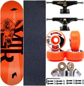 Skate Completo Maple Milk Beto Janz Orange 8.0 + Rolamento Abec 11 + Roda Moska + Truck Stronger