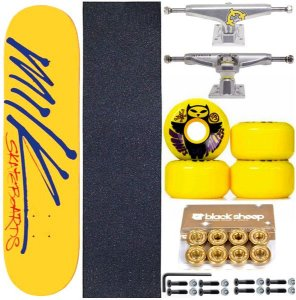 Skate Completo Maple Milk Yellow 8.0 + Rolamento Gold + Roda Bones + Truck Intruder