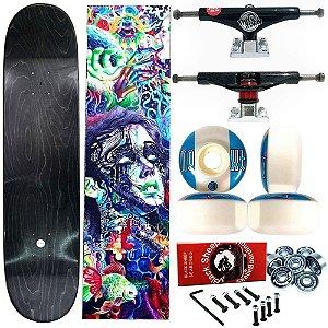 Skate Completo Profissional Universo Maple Liso 8.125 (shape sem estampa) + Truck ThisWhay Balck