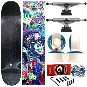 Skate Completo Profissional Universo Maple Liso 8.125 (shape sem estampa) + Truck This Way Silver