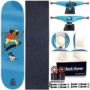 Skate Completo Shape Wood Light 8.0 Bulldog + Truck BS 139mm Blue