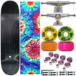 Skate Completo Profissional Tie Dye Maple Liso 8.0 (shape sem estampa)