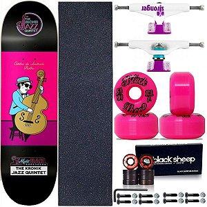 Skate Completo Profissional Shape Maple Kronik  Jazz 8.0 + Roda BS Importada + Truck Stronger