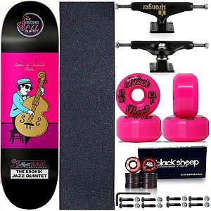 Skate Completo Profissional Shape Maple Kronik  Jazz 8.0 + Roda BS Importada + Truck Stronger Black
