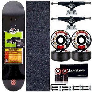 Skate Completo Profissional Maple 8.0 Kronik Caravan + Roda Moska 53mm + Truck ThisWay