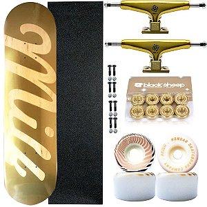 Skate Completo Maple Milk Gold 8.0 + Roda Hondar Importada + Truck Intruder Noble