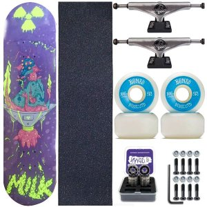 Skate Completo Maple Milk Monster Blue 8.0 + Roda Bones + Truck This Way