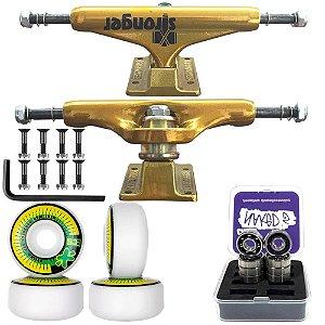 Truck Stronger Gold 139mm + Roda Moska Next 53mm + Rolamento Chaze + Parafusos