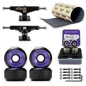 Truck Stronger 139mm + Roda Bones 55mm + Rolamento Chaze + Lixa Jessup + Parafusos