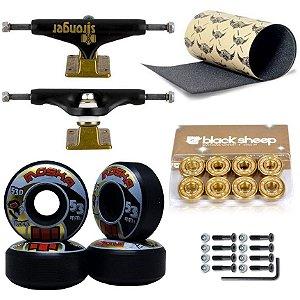 Truck Stronger 139mm + Roda Moska Black + Rolamento Gold + Lixa Jessup + Parafusos