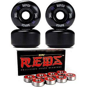Roda Bones 53mm Black 100s + Rolamento Reds-Bones Original