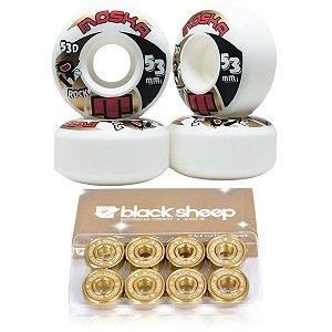 Roda Moska 53mm Rock + Rolamento Black Sheep Gold