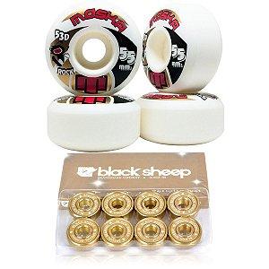 Roda Moska 55mm Rock + Rolamento Black Sheep Gold