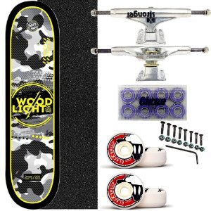 Skate Completo Shape Wood Ligth 8.0 Army Black Truck Stronger
