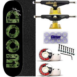 Skate Completo Shape Wood Light 8.0 Black Truck Stronger