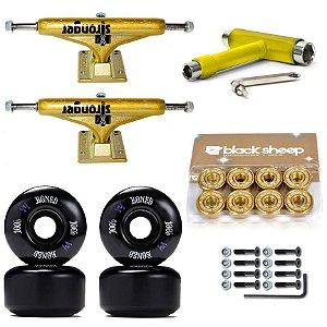 Truck Stronger 139mm Gold + Roda Bones 53mm + Rolamento BS Importado + Chave T