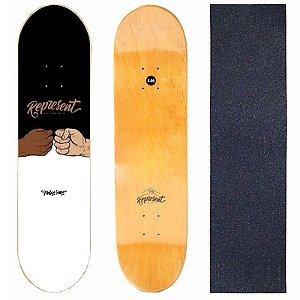 Shape Profissional Represent Skate Black White 8.0 (Grátis Lixa)