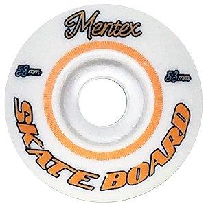 Roda para Skate Mentex 53mm Branca e laranja( jogo 4 rodas )