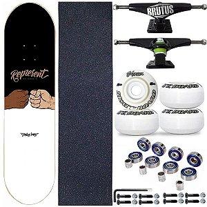 Skate Completo Shape Profissional Represent Balck White 8.0