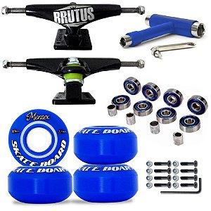 Truck Brutus 139mm + Roda Mentex Blue 53mm + Rolamento Abec Blue + Chave Y