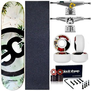 Skate Completo Maple Nineclouds 8.0 Nature + Roda Moska + Truck Intruder