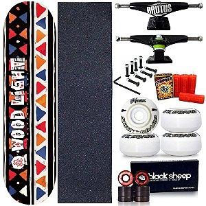 Skate Profissional Completo Shape Wood Light Ethnics ll 8.0 + Vela Thunder Skate
