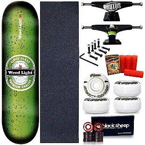 Skate Profissional Completo Shape Wood Light Premium 8.0 + Vela Thunder Skate