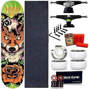 Skate Profissional Completo Shape Wood Light Fox 8.0 + Vela Thunder Skate