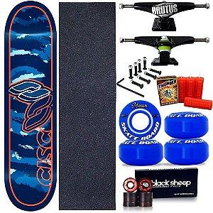Skate Profissional Completo Shape Cisco Camufla Blue 8.0 + Vela Thunder Skate