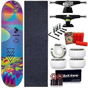 Skate Profissional Completo Shape Cisco Fiber Glass Neon Blue 8.0 + Vela Thunder Skate