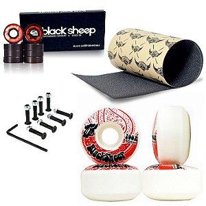Roda Black Sheep 55mm + Rolamento Black Sheep Importado + Lixa Jessup