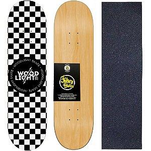 Shape de Skate Profissional Wood Light 8.0 Squares + Lixa de Brinde