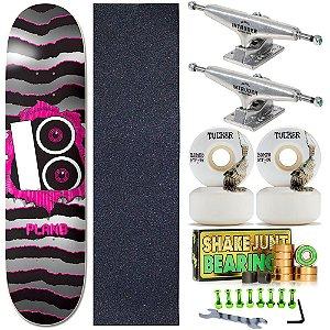 Skate Completo Shape Plan B Maple 8.0 + Roda Bones STF + Truck Intruder + Rolamento Shake Junt