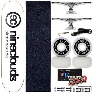 Skate Completo Maple Nineclouds 8.0 White + Rodas Diego Fontes + Truck Intruder