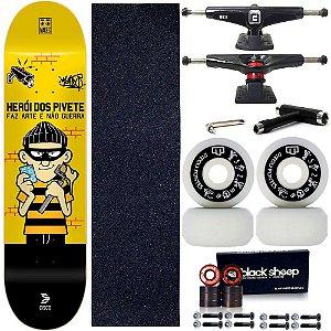 Skate Profissional Completo Shape Cisco Fiber Decks Pivete 8.0