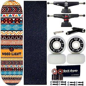 Skate Profissional Completo Shape Wood Light Ethnics Orange 8.0