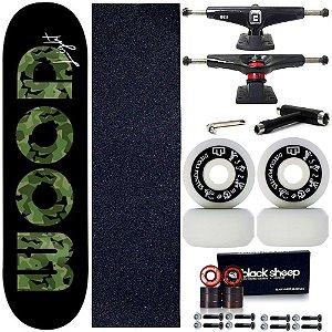 Skate Profissional Completo Shape Wood Light Black Green 8.0