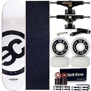 Skate Completo Maple Nineclouds 8.0 White + Roda Moska + Truck Stronger