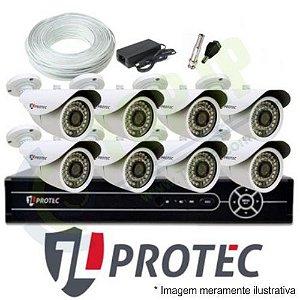 Kit CFTV 8 Canais JL PROTEC - Câmeras Canhão