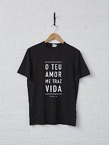 """Camiseta """"o Teu amor me traz Vida - track-01"""""""