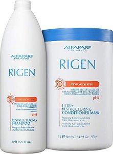 Kit Alfaparf Rigen Restore - Shampoo 1000ml + Máscara 1000ml