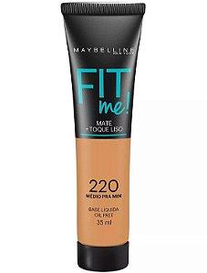 Maybelline Fit Me! Matte - Base Liquida, 220 Médio Pra Mim 35ml