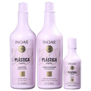 Inoar Kit Plástica Capilar - Shampoo e Condicionador 1000ml + Leave-in 250ml