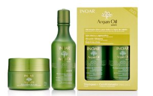 Kit Inoar Argan Oil - Máscara 250g + Leave-in 250ml + Shampoo 250ml + Condicionador 250ml