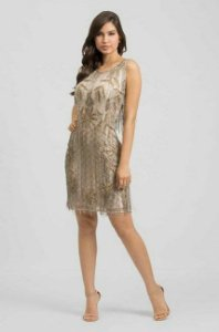 vestido curto correntes ouro