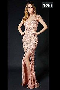 vestido longo rosa fenda