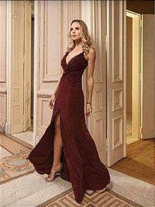 vestido longo malbec