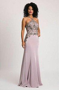 vestido longo bordado rococó