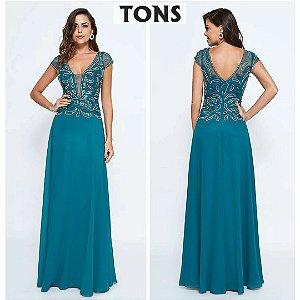 vestido longo azul tradicional v