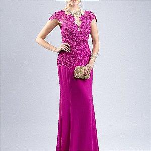 vestido longo rosa tradicional